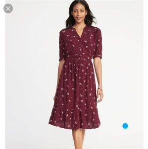 Waist-defined shirt dress